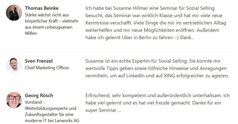 Kundenstimmen Und Referenzen Zu Trainings Mit Susanne Hillmer